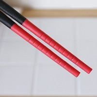 Silicone Tip Chopsticks, Red (Long 30cm) by IPPINKA