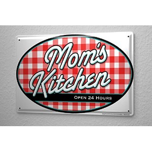 Tin Sign ブリキ看板 Food Restaurant Decoration Mom 's Kitchen open 24 hours Metal