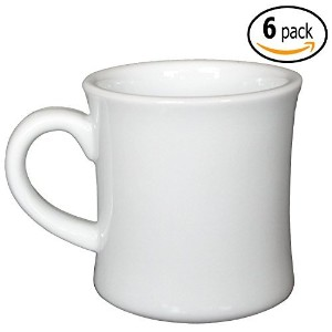 CAC Ceramic Hartford Diner Coffee Mugs with Pan Scraper, 12 Ounce (6-Pack, Pure White) by MBW NW...
