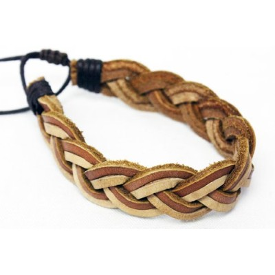 WILL LEATHER GOODS ウィルレザーグッズ FORRESTER MULTITONE BRAIDED CUFF (NATURAL / TAN) (TAN)