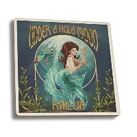 Kailua、ハワイ – Under A Hula Moon – マーメイド Ceramic Coaster Set LANT-44148-CT