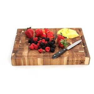 Hardwood Chef Thick End Grain Acacia Wood Butcher Block Cutting Board and Serving Platter with...