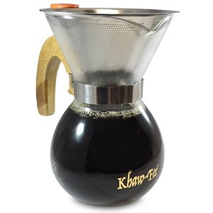 1-3 Cup Pour Over Coffee Maker from Khaw-Fee - Includes Permanent Stainless Steel Pour Over Filter ...