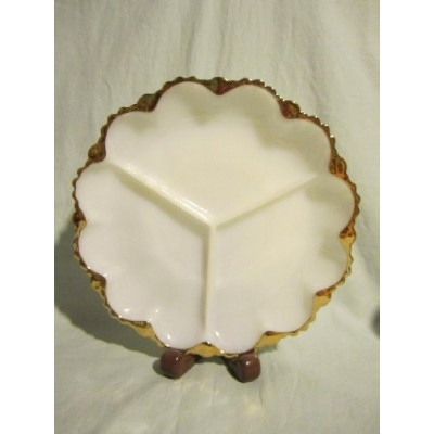 "Vintage Anchor Hocking Fire-King Milk Glass Divided Relish Tray Plate w/ Gold Trim 9 3/4"" by Fire..."
