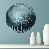 My Wonderful Walls Indigo Ice Forest Wall Sticker Art by Elise Mahan, Medium, Multicolored by...