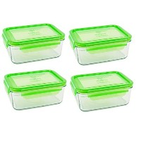 Wean Green Meal Tubs 36oz/1090ml Glass Food Storage Containers - Pea (Set of 4) by Wean Green