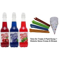 Time for Treats Cherry, Blue Raspberry, Watermelon Snow Cone Syrup + Snow Cone Cups & Spoon Straws....