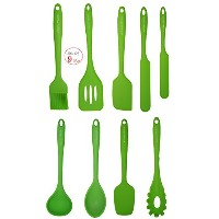 11'' Silicone Cooking/Baking Set (Green) - Set of 9 - Astounding Durability- High Heat Resistance -...