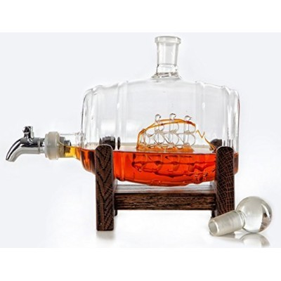 Bourbon Decanter - Mouthwash / Liquor Dispenser - Whiskey, Vodka, Scotch, Wine Decanter (Glass) by...