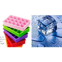 Mdairc 15 cubes FDA Silicone Ice cube tray, BPA free, Durable and not temerature sensitive (Blue)...