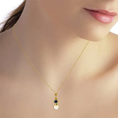 K14 Yellow, White, Rose Gold Sapphire Necklace with Freshwater-cultured Pearl Pendant