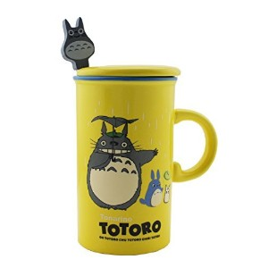 Finexテつョ Totoro 12oz Color Coffee Mug Cup Set with Lid and Spoon (Yellow) by FINEX
