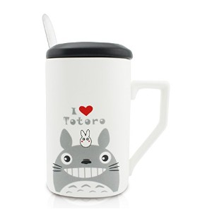 Finexテつョ Totoro 12oz Coffee Mug Cup Set with Lid and Spoon (White) by FINEX
