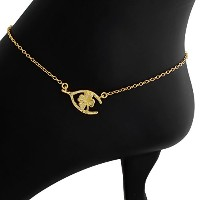 Wishbone Four-Leaf Clover Lucky Charm Pendant Anklet (gold-plated-silver)