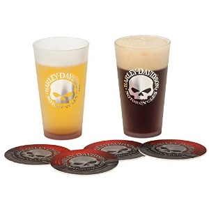 Harley-Davidson Metallic Willie G Skull Logo Pint Glass & Coaster Set HDL-18763 by Harley-Davidson