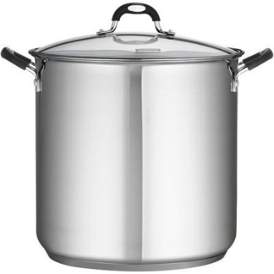 Tramontina 18/10 Stainless Steel 22-Quart Stockpot Covered with Clear Glass Lid, Silver by...
