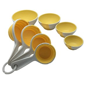 Chef ' n SleekStorピンチand Pourセット – 4 Prep Bowls 4折りたたみMeasuring Cups – レモン