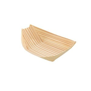 BambooMN Brand - Disposable Wood Boat Plates / Dishes, 4.7 Long x 3 Wide x 1 High, 100 Pieces by...