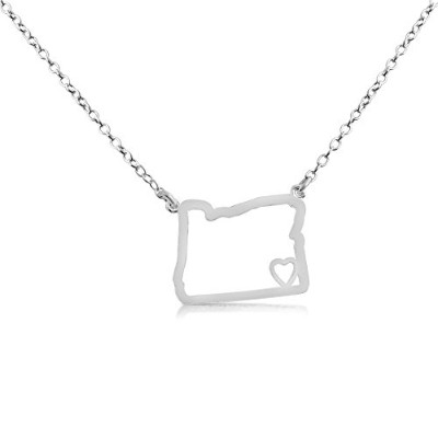 925 Sterling Silver Small Oregon -Home Is Where the Heart Is- Home State Necklace (16 Inches)