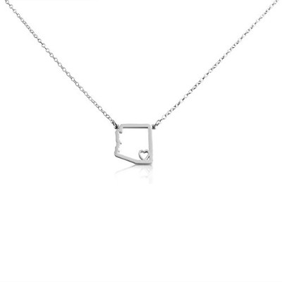 925 Sterling Silver Small Arizona -Home Is Where the Heart Is- Home State Necklace (16 Inches)