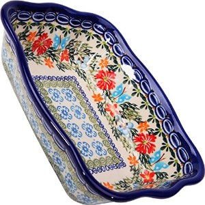 Polish Pottery Ceramika Boleslawiec Fala Baker Small, 7-3/4-Inch by 6-1/8-Inch, 3 Cups, Royal Blue...