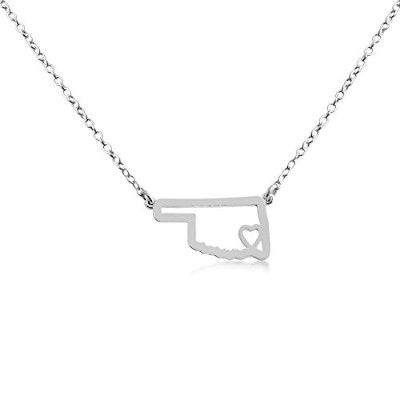 925 Sterling Silver Small Oklahoma -Home Is Where the Heart Is- Home State Necklace (16 Inches)
