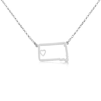 925 Sterling Silver Small South Dakota -Home Is Where the Heart Is- Home State Necklace (14 Inches)