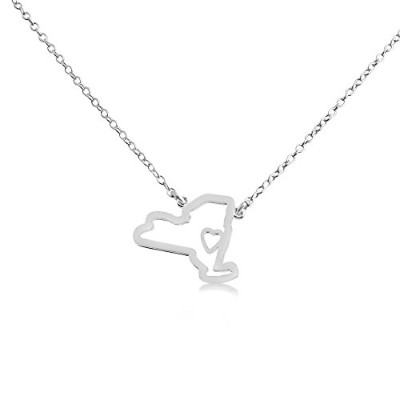 925 Sterling Silver Small New York -Home Is Where the Heart Is- Home State Necklace (14 Inches)