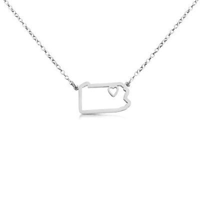 925 Sterling Silver Small Pennsylvania -Home Is Where the Heart Is- Home State Necklace (14 Inches)