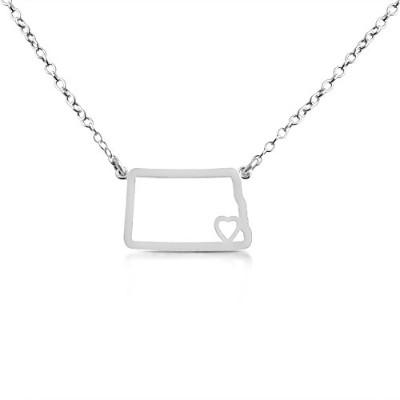 925 Sterling Silver Small North Dakota -Home Is Where the Heart Is- Home State Necklace (14 Inches)