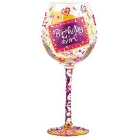 Enesco Presents Lolita Super Bling Collection Wine Glass, Birthday Girl [並行輸入品]
