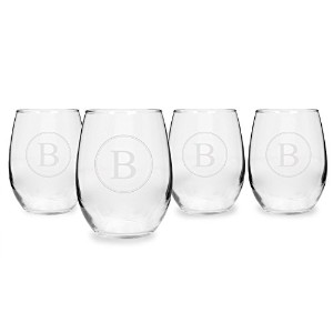 Cathy's Concepts Stemless White Wine Glasses, Initial B [並行輸入品]