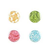 Il Bere Wine and Drink Charms Floral Collection, Colorful Damask [並行輸入品]