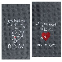 Kay Dee Designs Cat Lover刺繍タオルセット–1つ各You Had Me At Meow & Cat Love