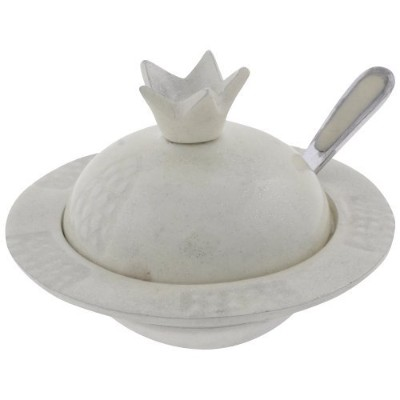 Rosh Hashanah Honey Dish in Pomegranate Shape With Spoon, Aluminum, Ivory by Quality Judaica