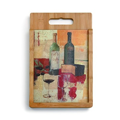 Demdaco Wine and Cheese Wood and Glass Cutting Board Set, Multicolor