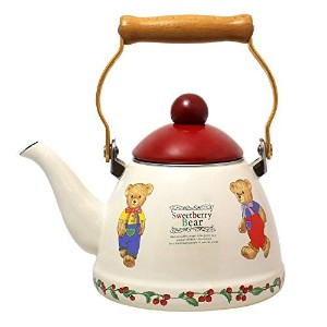 JustNile Country-Style Decorative Enameled iron Tea Kettle with Vintage Wooden Handle - 1.2 Quarts,...