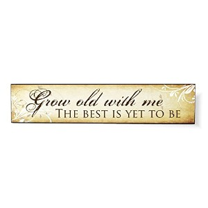 Grow Old With Me花スクロール5 x 24オーバーレイ木製デザイン壁アートSign Plaque