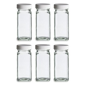 Nakpunar 6個4オンスガラスSpice Jars with Shaker andホワイト蓋
