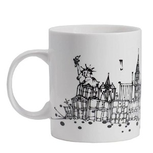 NYC Skyline Ceramic Coffee Mug with unique artwork of Adam Palmeter featuring STATUE of LIBERTY -...