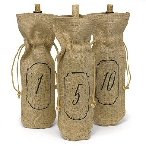 Hortense B. Hewitt Burlap Table Number Wine Bags, 1 to 10, Set of 10 [並行輸入品]