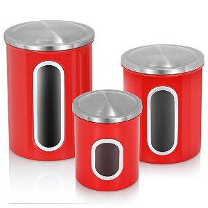 Fortune Candy Food Storage Canister set of 3 (Red) by Fortune Candy