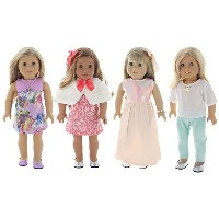 """Holiday 4 Outfit Package, Doll Clothes Set, fits American Girl Dolls, or an 18"""" Doll - by PZAS Toys"""