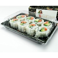 Katgely寿司トレイwith Lids # 10 Sushi Trays with Lids Pack of 50 クリア KAT974131
