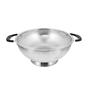 "米国キッチン供給5 Quart 11 ""ステンレススチールMicro Perforated Colander Strainer Basket with Coated Heat Resistant..."