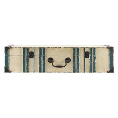 MCS 45886 Vintage Suitcase Wall Shelf In Distressed Cream Finish with Aqua Accent, 60cm