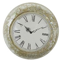 Fetco Home Decor Clock Manoli Clock Wall Art Cream 17.5 Round [並行輸入品]