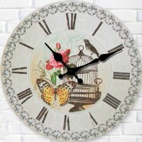 "LOVE(TM)12inch Wooden Clock Shabby Chic Retro Roman Numeral""Bird Cage and Butterfly Flower""Pattern..."