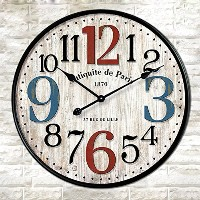 "LOVE(TM)12inch Wooden Clock Shabby Chic Retro Arabic Numeral ""Antiquite de Paris""Pattern Wooden..."