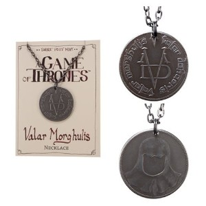 Valar Morghulis Necklace - Stainless Steel Coin on Gunmetal Chain